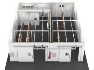 Промышленная холодильная камера для хранения мяса