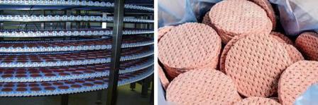 Шоковая заморозка котлет в спиральных конвейерах